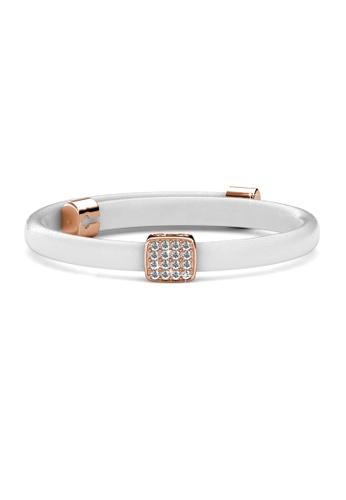Her Jewellery white Jack Leather Bracelet (White) - Licensed Genuine Crystals from Swarovski® HE581AC0RVEXMY_1