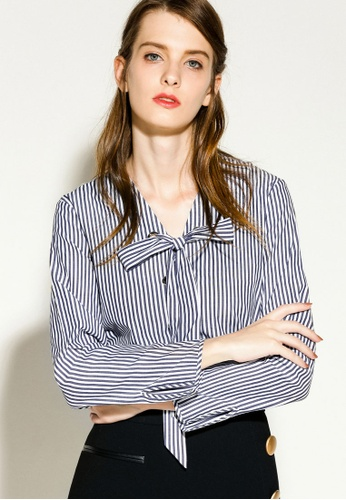 4812b17e2742c Shop Hopeshow Relaxed Fit Blouse With Ribbon Tie Online on ZALORA  Philippines
