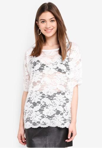 JACQUELINE DE YONG white Juan Lace Top FE3D7AAC044A87GS_1