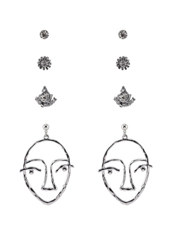 91845157f Red's Revenge silver 4-In-1 Abstract Face Dangle & Studs Earrings Set  6E525ACEF3BE41GS_1