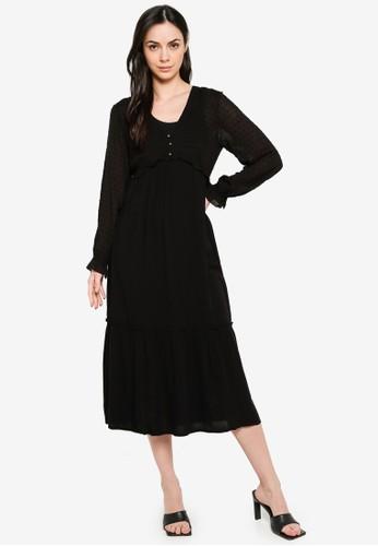 Springfield black Contrast Midi Dress 7878DAA13E7C9BGS_1
