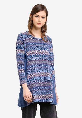 Wafiyya by Dollscarf blue and multi Tulip Blouse WA375AA0S75VMY_1