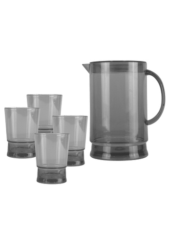 Urban Kitchen grey Contempo Plastic Pitcher and 4 pc Tumbler F59FAHL0983ABAGS_1