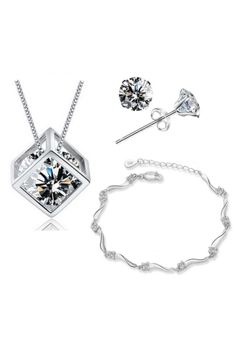 YOUNIQ silver YOUNIQ Hexa 925 Sterling Silver Necklace Pendant With Brilliant Cut Blue Cubic Zirconia, Earrings & Bracelet Set YO999AC17SFYMY_1