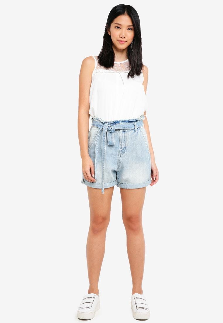 ZALORA Blue High Bleached Paperbag Shorts Waist rRPrAnqSz
