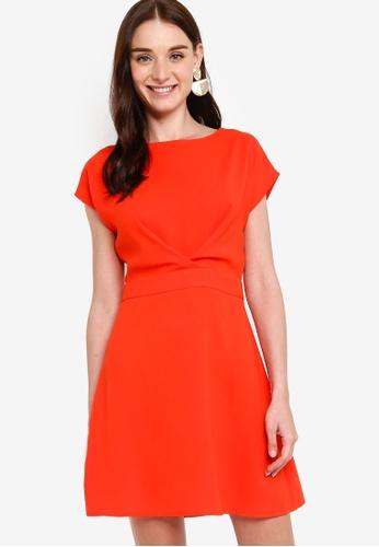 ZALORA orange Pleat Detail Fit and Flare Dress 4367FAAD2A0504GS_1