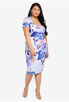 9fdfb29b14 Goddiva multi Plus Size Square Neckline Pleated Midi Dress  9F517AA90A3CE1GS_1