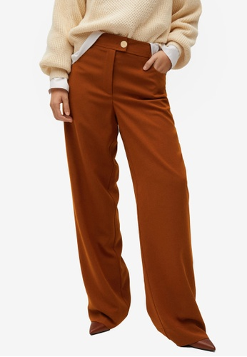 Violeta by MANGO orange Plus Size Flowy Flared Trousers 7966DAA6448E27GS_1