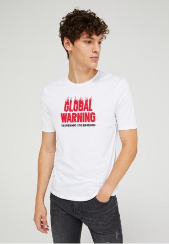 Sisley white Printed T-shirt 92BBCAA911BCDBGS_1