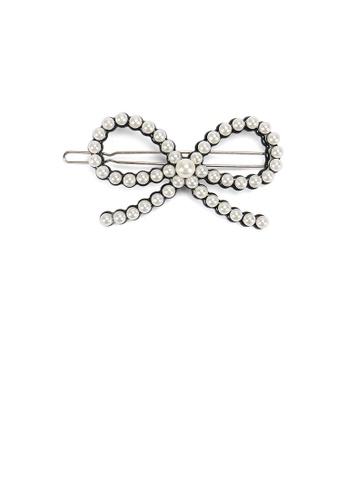 Glamorousky black and white Fashion Simple Hollow Ribbon White Imitation Pearl Black Hair Clip 7FD48AC20E6966GS_1