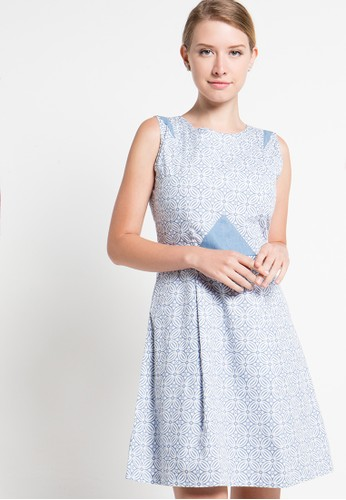 Bateeq blue Sleeveless Cotton Print Dress BA656AA74MMBID_1