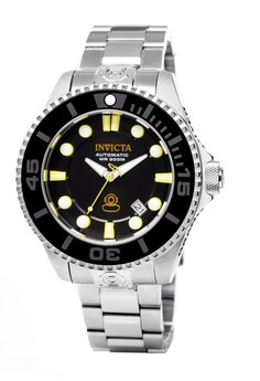 Pro Diver Men 47mm Case Silver Stainless Steel Strap Black Dial Automatic Watch 19797