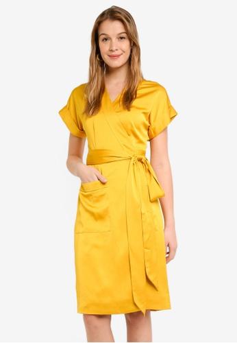 b11a9e1580 J.Crew yellow Satin-Back Crepe Short Sleeve Wrap Dress 425CDAA4E2C35CGS 1