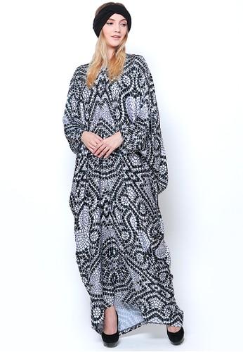 Kanzi by liza yahya black and white Kanzi Long Sleeve Etnic Kaftan  Black White 7BE9EAA6E63CEDGS_1