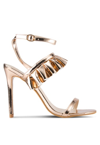 Public Desire gold Lion Frill Detail Strappy Heels PU378SH0SIPZMY_1