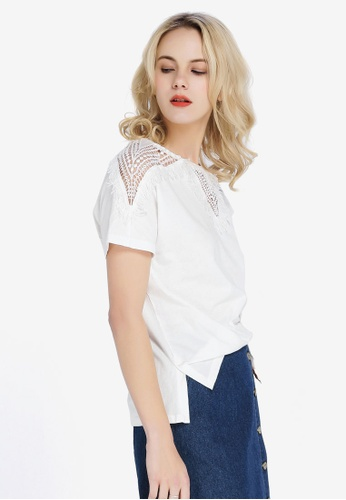 Hopeshow white Loose Fit Short Sleeve T-Shirt BE2A1AA392B607GS_1