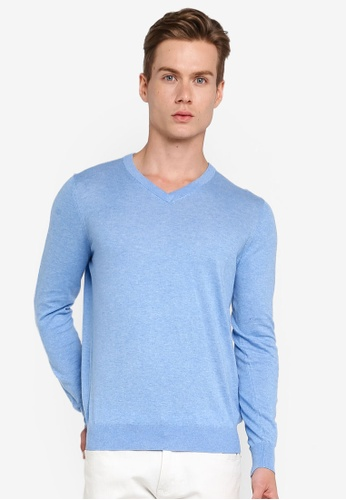 Gay Giano blue Extra Fine V Neck Knit Sweater 502B2AA6C8C774GS_1