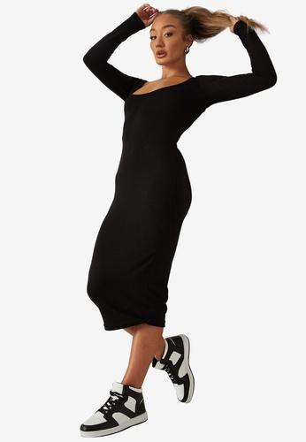 MISSGUIDED black Basic Square Neck Midi Dress 9D62CAA17EEA37GS_1
