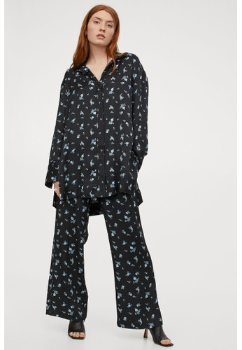H&M black Patterned trousers 766FCAA1B2BE1BGS_1