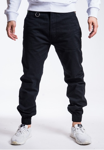 L.I.M.I.T.E black Chino with Camo Patch Joggers Pant 200D7AAE36412AGS_1