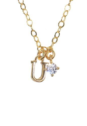 PSYNDROME gold Personalised Initial Letter Alphabet with Cubic Zircona Necklace - U FF1CAAC94EF081GS_1