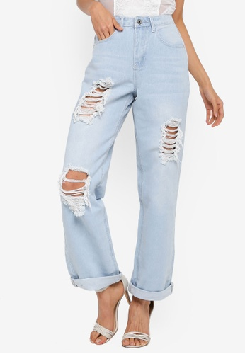 MISSGUIDED blue High Rise Distressed Boyfriend Jeans 7045EAA813B5E4GS_1