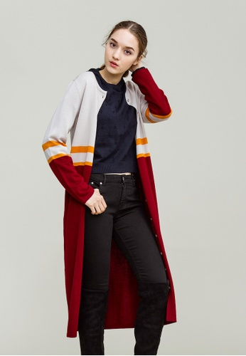 KLAPS red Merino Two-tone Long Cardigan with stripe detail E4545AABEFA7B1GS_1
