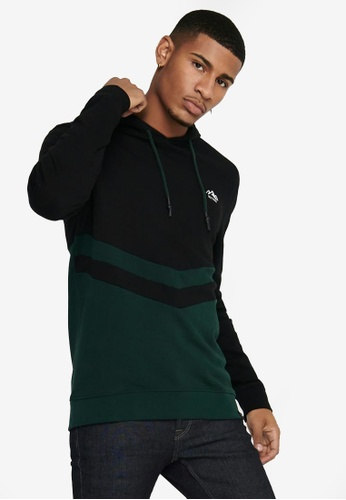 Only & Sons black and green Dive Life Reg Hoodie D42FDAA77C8F72GS_1