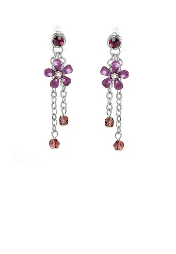Glamorousky purple Purple Flower Earrings with Purple Austrian Element Crystals 4A83CAC00D1515GS_1