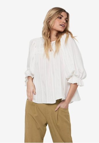 ONLY white Marta Frill Detail 3/4 Top DAD9BAAA001D4AGS_1