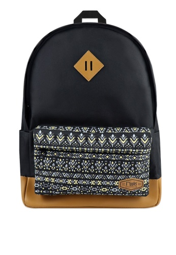 Ripples black Astrial Aztec Leather Base Backpack 0D492ACA83975EGS_1