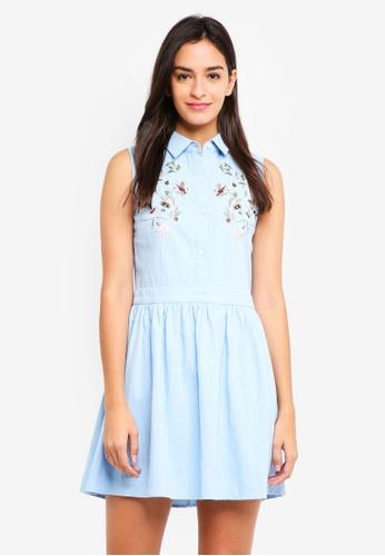 ZALORA blue Embroidered Front Shirt Dress F691CAABF4EFA0GS_1
