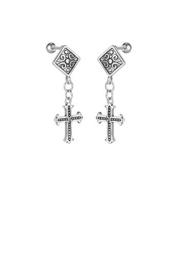 Glamorousky 銀色 時尚復古幾何菱形十字架316L鋼耳環 3F71DAC9E42740GS_1