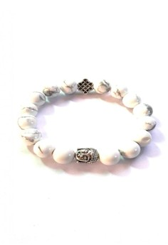 Feng Shui Howlite Silver Plated Medicine Buddha with Mystic Knot Bracelet