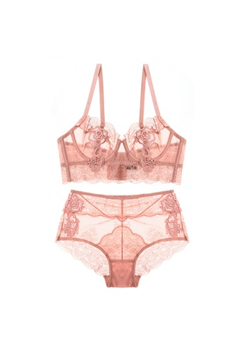 W.Excellence pink Premium Pink Lace Lingerie Set (Bra and Underwear) 57F0BUSD8BA0B3GS_1