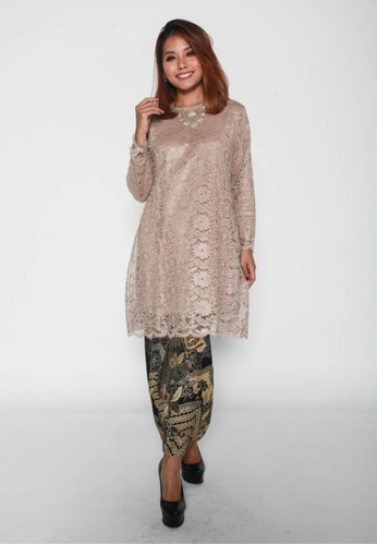 Naphthys Collection brown and beige Aara Lace Blouse/Tunic/Kurung E1899AA8A36B5AGS_1