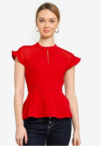 Saturday Club red A-line Top With Contrast Sheer Sleeves FB051AAEFE1BCFGS_1