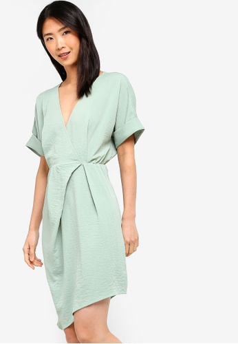 ZALORA BASICS green Basic Asymmetrical Gathered Wrap Dress 1E909AAA50D6D9GS_1