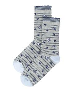 【ZALORA】 Mini Butterfly Stripe 襪子