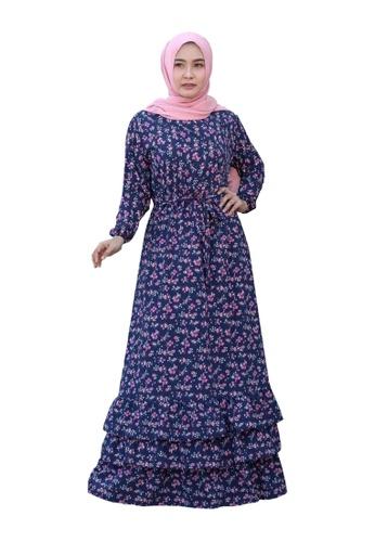 Beautika Fashion navy Candy 321 Navy Blue Muslimah Frill Dress Jubah Flower Pattern Corak Bunga CCC83AA24F3FD8GS_1