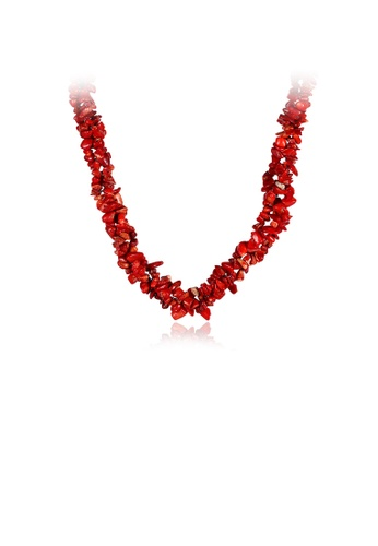 Glamorousky red Fashion Simple Irregular Red Coral Necklace 10AAAACF2C2237GS_1