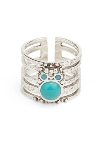 HIPANEMA blue and multi and silver Ring Winona silver adjustable CAA11ACE154B7DGS_1