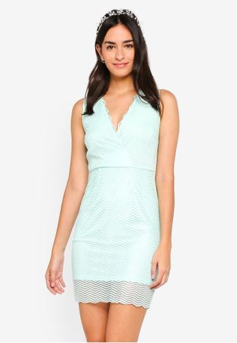 ZALORA green Bridesmaid Wrap Lace Bodycon Dress C8235AAA84652CGS_1