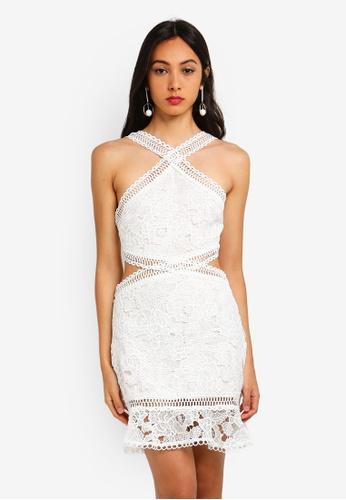 Cut Out Lace Trim Frill Hem Midi Dress