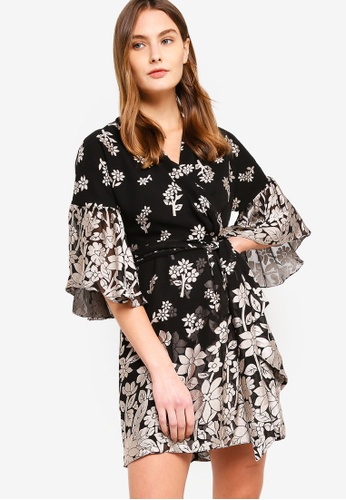 French Connection black Elsie Satin Devore Wrap Dress 2291EAA678729AGS_1