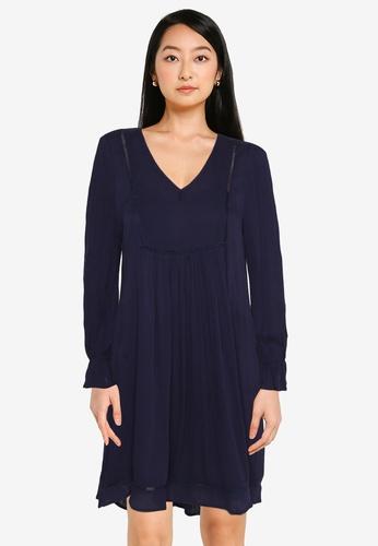 ZALORA BASICS navy Lace Trim Dress F9569AA503A263GS_1