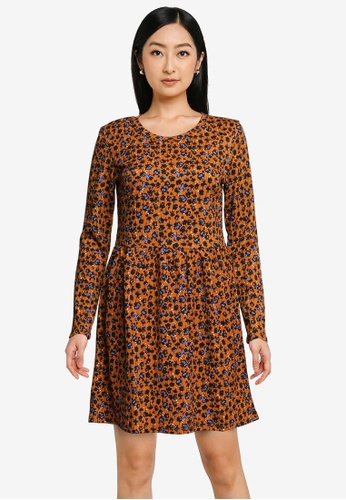 JACQUELINE DE YONG brown Claude Long Sleeves Dress 25E42AAF4A5F00GS_1