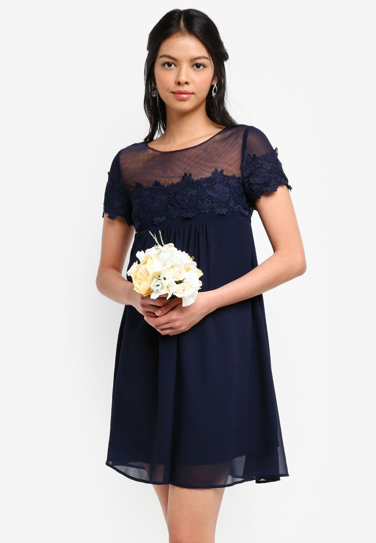 Lace Dress Bridesmaid Navy Dark Babydoll Panelled ZALORA T81wzqP