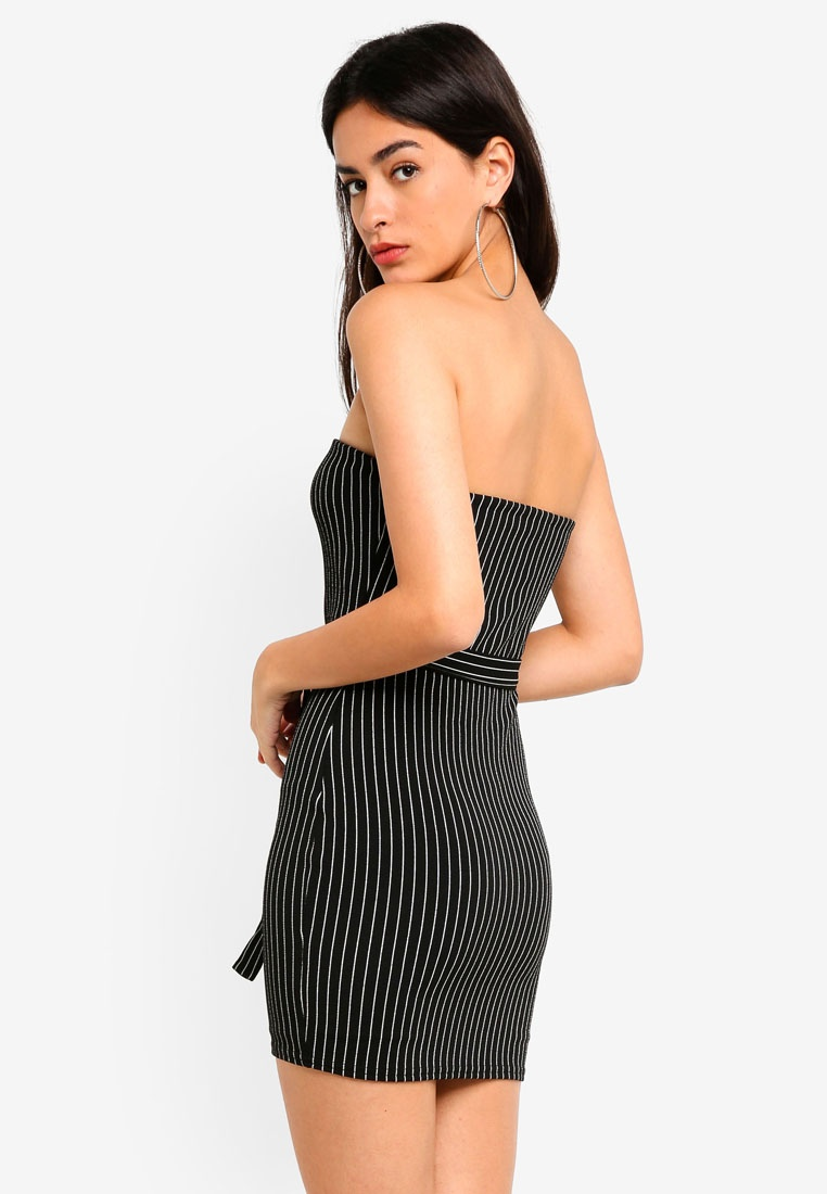 Zip Dress MISSGUIDED Stripe Pin Black Through Mini rqaxP0w7q