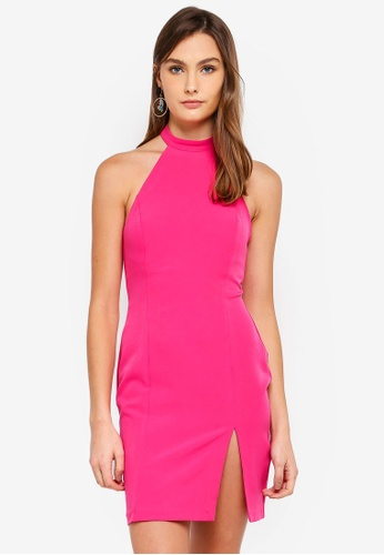 Vesper pink Jolie Halter Neck Mini Dress 7CFB7AAACE149DGS_1